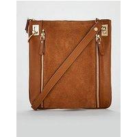 V by Very Bayley Leather Zip Detail Cross-Body Bag - Tan  , Tan, Women