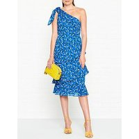 Whistles Almond Print Dobby One Shoulder Dress - Blue