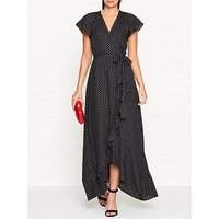 Whistles Polka Dot Wrap Maxi Dress - Black/White