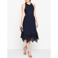 Whistles Lana Lace And Pleat Detail Sleeveless Dress - Navy