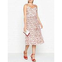 Whistles Salome Lenno Poppy Print Pleated Dress - Cream/Red