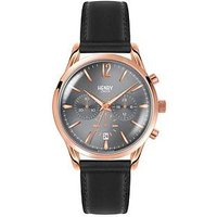 Henry London Henry London Grey and Rose Gold Dial with Black Leather Strap Mens Watch, One Colour, Men