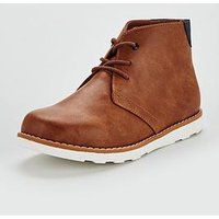 V by Very Boys Calvin Lace Up Desert Boots - Tan, Tan, Size 1 Older