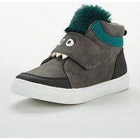 V by Very Max Cheeky Monster Fur Hi Top, Grey, Size 5 Younger