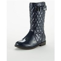 V by Very Karina Hi Leg Patent Qulited Boot Navy, Navy, Size 8 Younger