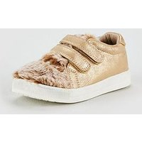 V by Very Ruby Rabbit Fur Plimsole, Tan, Size 9 Younger