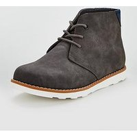 V by Very Boys Calvin Lace Up Desert Boots - Grey, Grey, Size 3 Older