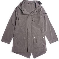 Barbour International Boys Lightweight Fishtail Hooded Parka, Grey, Size Age: 6-7 Years