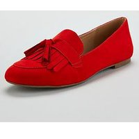 V by Very Mumbai Flat Tassel Loafer - Red, Red, Size 3, Women