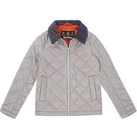 Barbour Boys Helm Quilted Jacket with Contrast Collar, Light Grey, Size Age: 12-13 Years