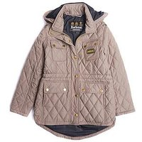 Barbour Girls International Absorber Quilted Hooded Jacket, Taupe, Size 14-15 Years, Women