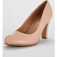 V By Very Wide Fit Darla Mid Block Heel Court Shoe
