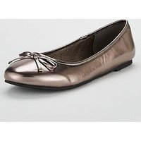 V by Very Maple Round Toe Ballerina - Pewter, Pewter, Size 3, Women