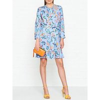 Ps Paul Smith Acapulco Ribbon Print Frill Bottom Dress - Blue