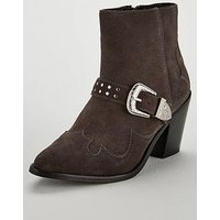 V by Very Forest Real Suede Heel Western Boot - Grey, Grey, Size 5, Women