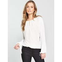 V by Very Tie Sleeve Top, Ivory, Size 20, Women