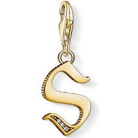 Thomas Sabo Thomas Sabo 18k Gold Plate Sterling Silver Cubic Zirconia Set Letter S Charm, One Colour, Women