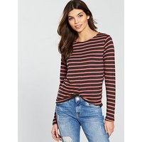 V by Very Knot Front Jersey Top, Stripe, Size 16, Women