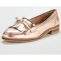 V by Very Madras Flat Leather Loafer - Rose Gold , Rose Gold, Size 5, Women