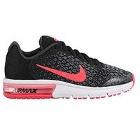 Nike Air Max Sequent 2 Junior Trainer, Black/Pink, Size 4