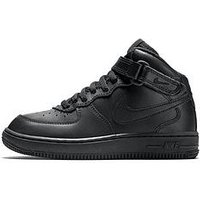 Nike Force 1 Mid Childrens Trainers - Black, Black/Black, Size 13