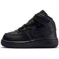 Nike Infant Air Force 1 Mid - Black , Black/Black, Size 4