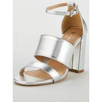 V by Very Bess High Block Heel 3 Strap Sandal - Silver, Silver, Size 6, Women