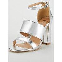 V by Very Wide Fit Bess High Block Heel 3 Strap Sandal - Silver, Silver, Size 4, Women