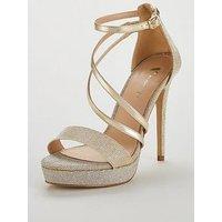V by Very Bex High Platform Glitter Lurex Sandal - Silver/Gold, Silver/Gold, Size 8, Women