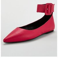 V by Very Milan Flat Point Buckle Ankle Strap Ballerina - Pink, Pink, Size 3, Women