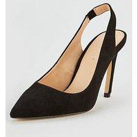 V by Very Cambridge Sling-Back Pointed Court Shoe - Black, Black, Size 8, Women