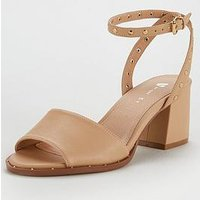 V by Very Gia Stud Ankle Strap Low Block Sandal - Nude, Nude, Size 6, Women