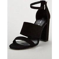 V by Very Bess High Block Heel Three Strap Sandal - Black, Black, Size 4, Women