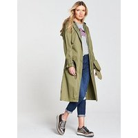 MAISON SCOTCH Technical Long Hooded Trench Coat - Army Khaki, Army, Size L, Women