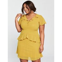 LOST INK CURVE Skater Dress With Frills - Yellow, Yellow, Size 20, Women