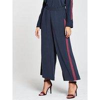 NATIVE YOUTH Press Stud Trousers - Navy/Burgundy, Navy/Burgundy, Size L, Women