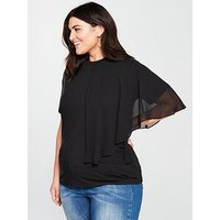 Lost Ink Plus T-Shirt With Frill Neckline - Black , Black, Size 16, Women