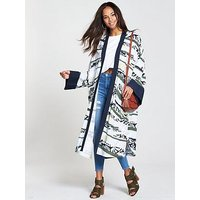 NATIVE YOUTH Printed Kimono - Stone, Stone, Size Xs, Women