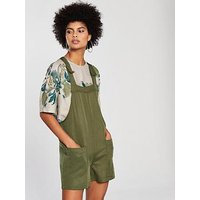 NATIVE YOUTH Dungaree Playsuit - Olive, Olive, Size Xs, Women