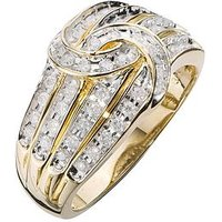 Love DIAMOND 9 Carat Yellow Gold 50 Point Diamond Four Row Knot Ring, Size U, Women