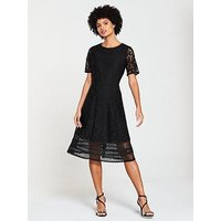 V By Very Lace Jersey Midi Dress - Black