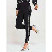 V by Very Petite Embellished Side Legging - Black, Black, Size 18, Women