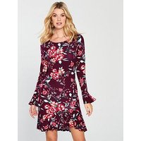 V by Very Frill Tunic Dress - Floral, Floral Print, Size 10, Women