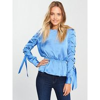 Lost Ink Tie Detail Blouse - Blue, Blue, Size 8, Women