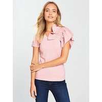 Lost Ink One Shoulder Frill Top - Pink, Pink, Size 8, Women
