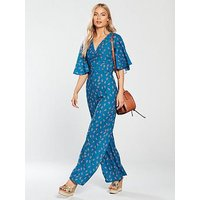 Lost Ink Ditsy Print Jumpsuit - Blue, Multi Print Blue, Size 6, Women