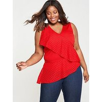 Lost Ink Plus Top With Dobby Ruffle - Red, Red, Size 20, Women