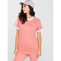 adidas Originals 3 Stripe Tee - Pink , Pink, Size 10, Women