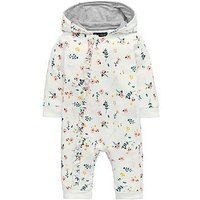 Mini V by Very Baby Girls Floral Frill Hooded Romper, Multi, Size Age(Months): 0-3 Months (14.5Lbs)