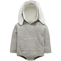 Mini V by Very Baby Hooded Fluffy Bunny Ears & Tail Romper, Grey, Size Age(Months): 6-9 Months (20Lbs)